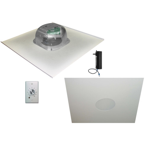 """OWI Inc. 2-One Source,6""""Integratable Amped In Ceiling Speakers on a 2x2 Metal Tile (with Volume Control)"""