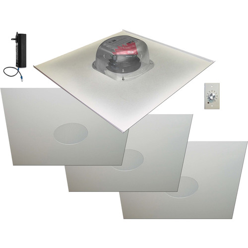 "OWI Inc. 2X2AMP-R2S64SVC - Amplified 6.5"" Drop Ceiling Speaker 2X2' Tile - Four Speaker Package with Volume Control"