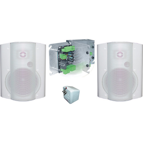 OWI Inc. 40W Amplifier and Surface Mounted Speaker Combination (White)