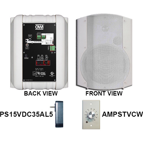 "OWI Inc. AMP-BT-602-1WVC Two-Way 6.5"" Dual Source Powered Surface Mount Speaker with Bluetooth and Volume Control Panel"