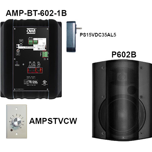 OWI Inc. AMP-BT-602-2BVC Kit of Two Surface-Mountable Bluetooth Speakers & Volume Control Panel (Black)