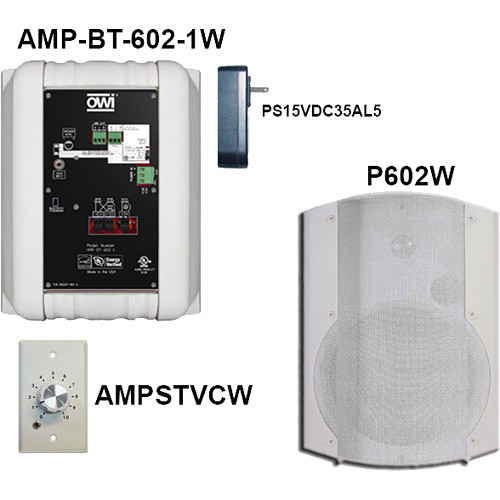 OWI Inc. AMP-BT-602-2WVC Kit of Two Surface-Mountable Bluetooth Speakers & Volume Control (White)
