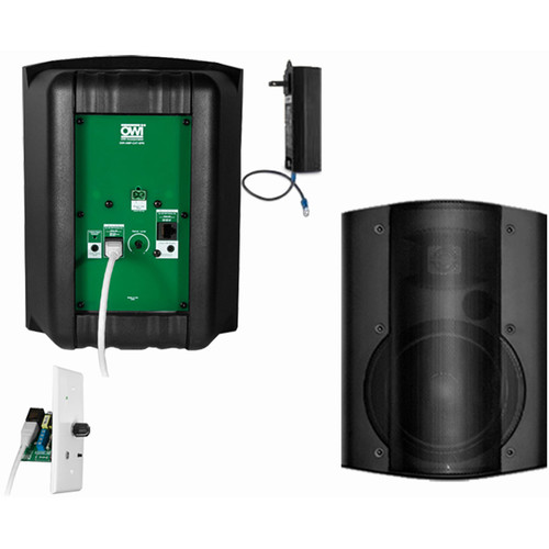 OWI Inc. 2 Each Amp-Cat602B Speaker (Black) W/ Bluetooth Volume Control