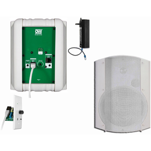 OWI Inc. 2 Each Amp-Cat602B Speaker (White) W/ Bluetooth Volume Control