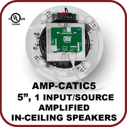 """OWI Inc. One Input/Source, 5.25"""" Amplified In-Ceiling Speaker"""