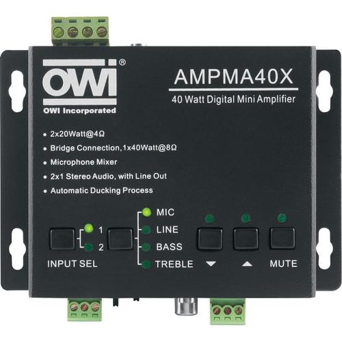 OWI Inc. AMPMA40X 40-Watt Digital Mini Amplifier with Mic Mixer and EQ