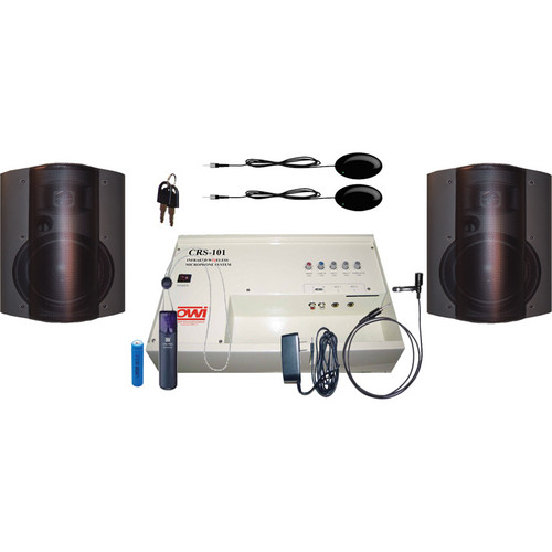 OWI Inc. CRS10183782B Speaker Package - CRS101 Infrared Wireless Microphone System with 2 P8378 Speakers (Black)