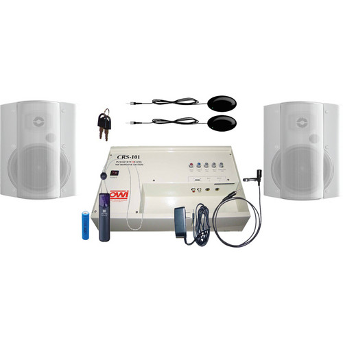 OWI Inc. CRS10183782W Speaker Package - CRS101 Infrared Wireless Microphone System with 2 P8378 Speakers (White)