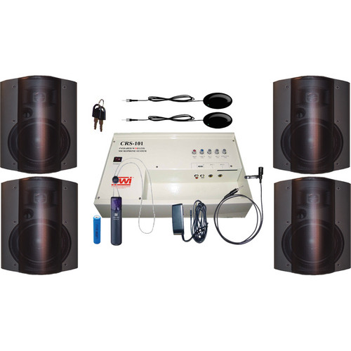OWI Inc. CRS10183784B Speaker Package - CRS101 Infrared Wireless Microphone System with 4 P8378 Speakers (Black)
