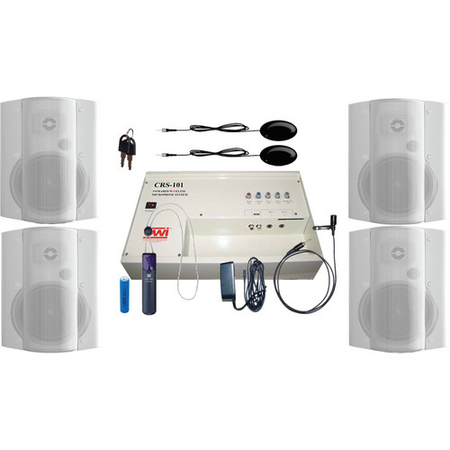 OWI Inc. CRS10183784W Speaker Package - CRS101 Infrared Wireless Microphone System with 4 P8378 Speakers (White)