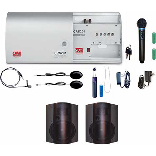 """OWI Inc. CRS201-HP-5278B2 Infrared Wireless Microphone System with 2 P5278P-B 5"""" Speaker Combo Package"""