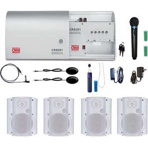 """OWI Inc. CRS201-HP-5278W4 Infrared Wireless Microphone System with 4 P5278P-W 5"""" Speaker Combo Package"""