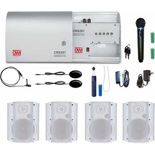 """OWI Inc. CRS201-HP-8378W4 Infrared Wireless Microphone System with 4 P8378P-W 8"""" Speaker Combo Package"""