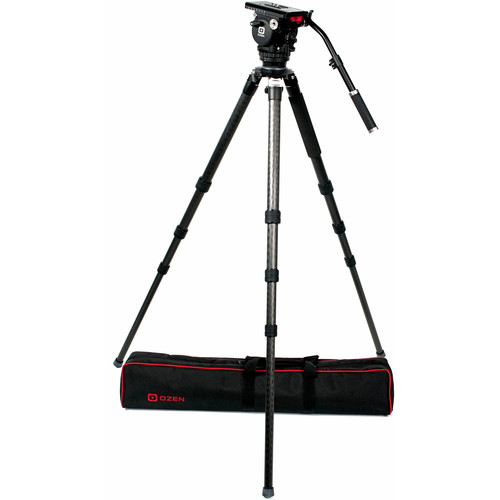 OZEN 100CF3 100mm Carbon Fiber Tripod & Agile 10 Fluid Head System (E-Z-Load)