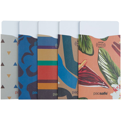 Pacsafe RFIDsleeve 25 RFID-Blocking Credit Card Sleeve (5-Pack, Tropical)