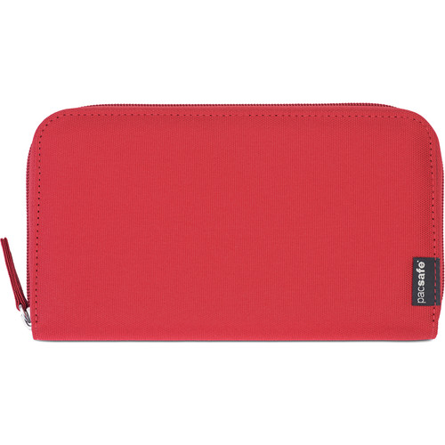 Pacsafe RFIDsafe LX250 RFID Blocking Zippered Travel Wallet (Chili)