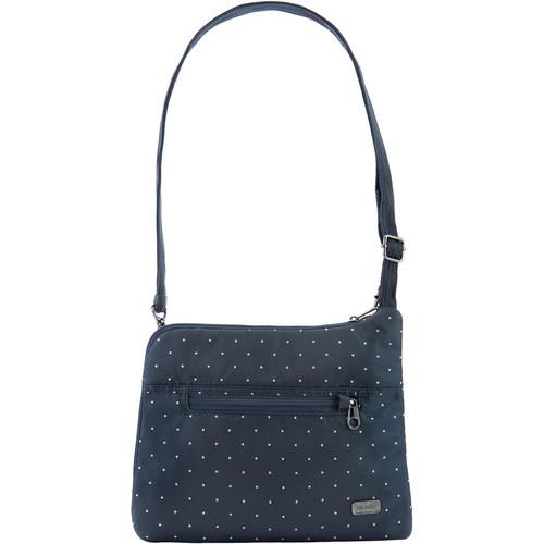 Pacsafe Daysafe Anti-Theft Slim Crossbody Bag (Navy Polka Dot)