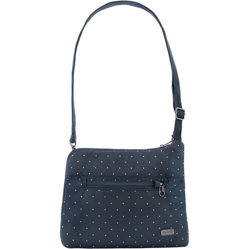 Pacsafe Daysafe Anti-Theft Slim Crossbody Bag (Navy Polka Dot)