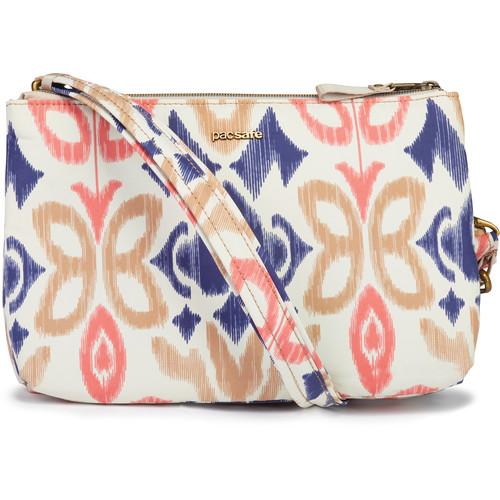 Pacsafe Stylesafe Anti-Theft Double Zip Crossbody Bag (Ikat Coral)