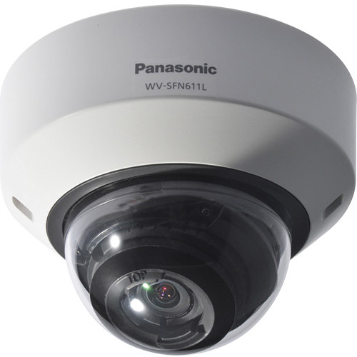 Panasonic 6 Series WV-SFV611L Indoor/Outdoor Enhanced Super Dynamic 720p Day/Night Vandal-Resistant Dome Network Camera (Light Gray)