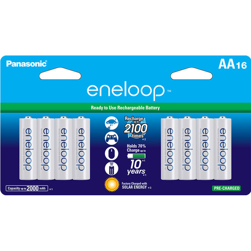 Panasonic Eneloop AA Rechargeable Ni-MH Batteries (2000mAh, Pack of 16)