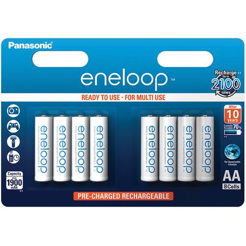 Panasonic Eneloop AA Rechargeable NiMH Batteries (1900mAh, 8-Pack, Clamshell)