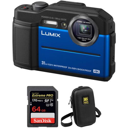 Panasonic DC-TS7 Digital Camera with Accessories Kit (Blue)