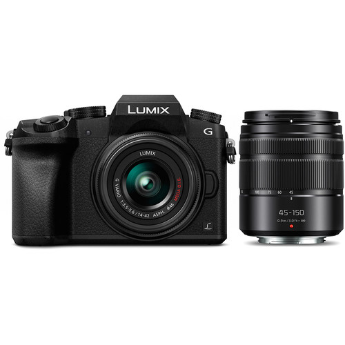 Panasonic Lumix DMC-G7 Mirrorless Micro Four Thirds Digital Camera with 14-42mm and 45-150mm Lenses (Black)