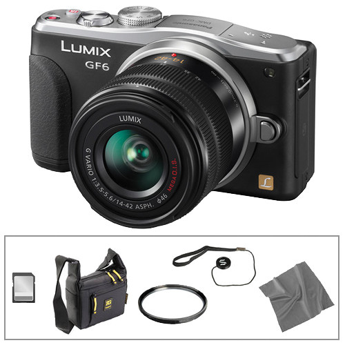 Panasonic Lumix DMC-GF6 Mirrorless Micro Four Thirds Digital Camera Basic Accessory Kit with 14-42mm f/3.5-5.6 II Lens