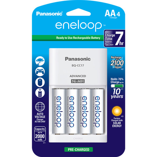 Panasonic Eneloop Rechargeable AA Ni-MH Batteries with Charger (2000mAh, Pack of 4)