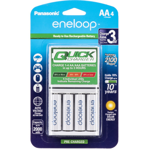 Panasonic eneloop AA Rechargeable NiMH Batteries and Individual Quick Charger
