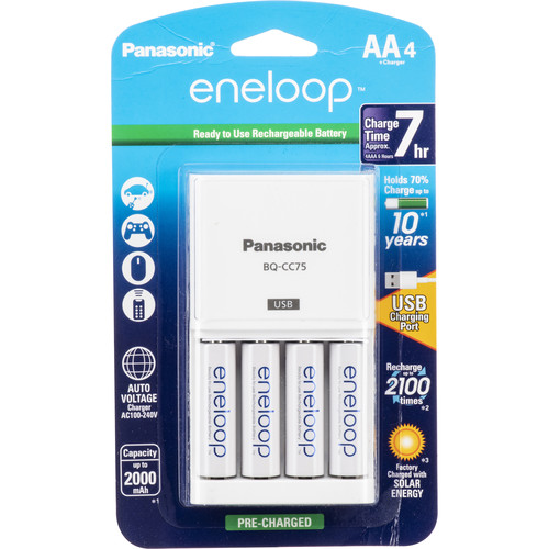 Panasonic Eneloop Rechargeable AA Ni-MH Batteries with Charger & USB Charging Port