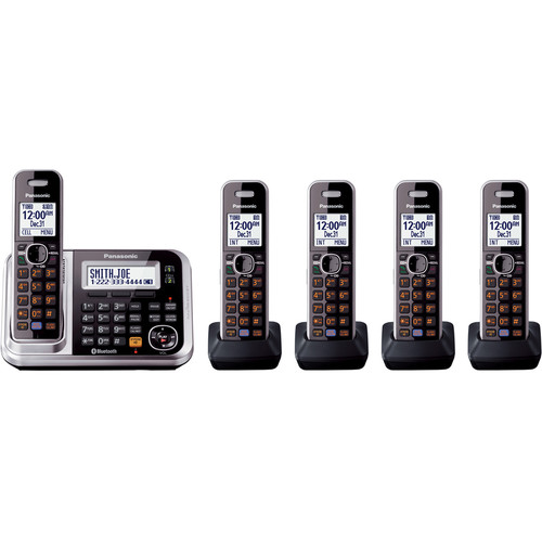 Panasonic Link2Cell Bluetooth Cordless Phone with Enhanced Noise Reduction (5 Handsets)