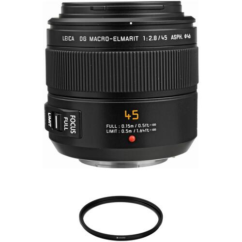 Panasonic Leica DG Macro-Elmarit 45mm f/2.8 ASPH. MEGA O.I.S. Lens with UV Filter Kit