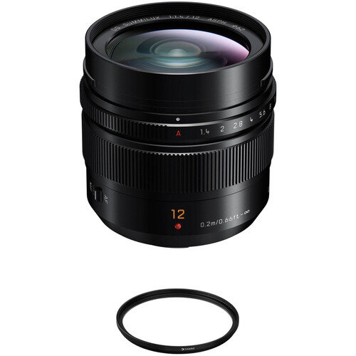 Panasonic Leica DG Summilux 12mm f/1.4 ASPH. Lens with UV Filter Kit