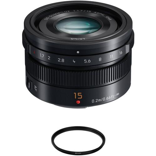 Panasonic Leica DG Summilux 15mm f/1.7 ASPH. Lens with UV Filter Kit