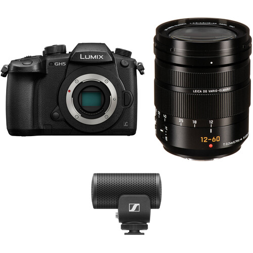 Panasonic Lumix DC-GH5 Mirrorless Micro Four Thirds Digital Camera with 12-60mm Lens & Microphone Kit