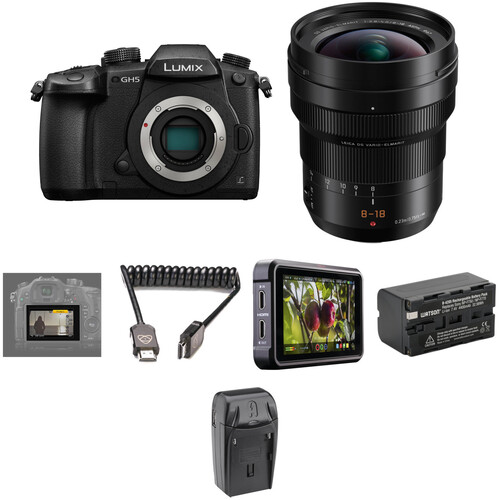 Panasonic Lumix DC-GH5 Mirrorless Micro Four Thirds Digital Camera with 8-18mm Lens and Pro HDR Kit