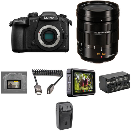 Panasonic Lumix DC-GH5 Mirrorless Micro Four Thirds Digital Camera with 12-60mm Lens and Pro HDR Kit