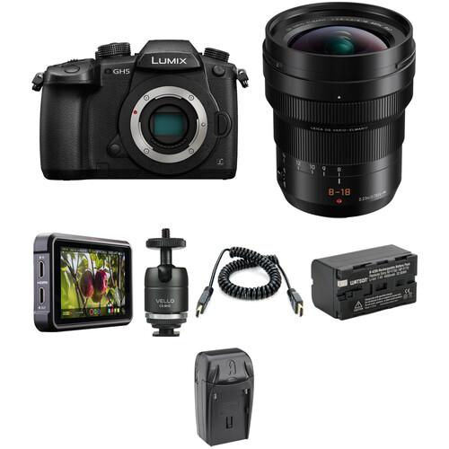 Panasonic Lumix DC-GH5 Mirrorless Micro Four Thirds Digital Camera with 8-18mm Lens and Ninja V Kit