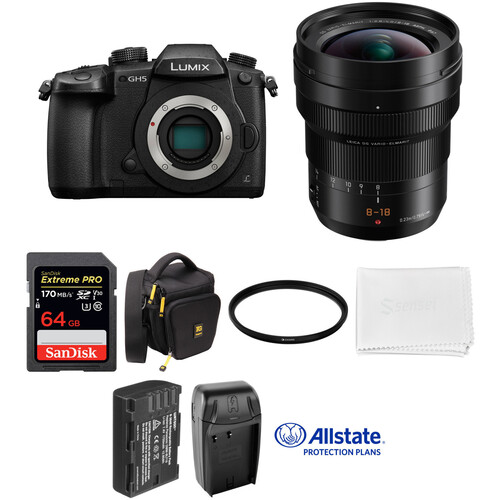 Panasonic Lumix DC-GH5 Mirrorless Micro Four Thirds Digital Camera with 8-18mm Lens Deluxe Kit