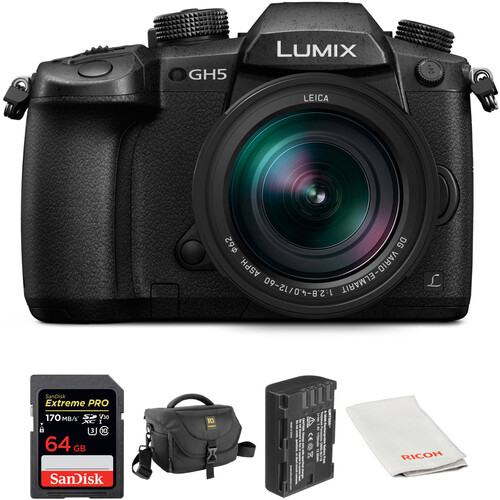 Panasonic Lumix DC-GH5 Mirrorless Micro Four Thirds Digital Camera with 12-60mm Lens and Accessories Kit