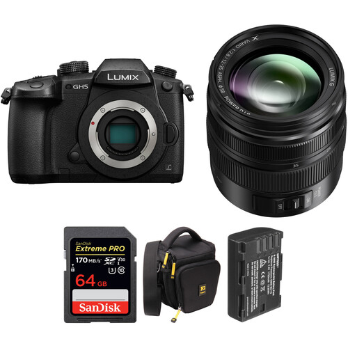 Panasonic Lumix DC-GH5 Mirrorless Micro Four Thirds Digital Camera with 12-35mm f/2.8 Lens and Accessories Kit