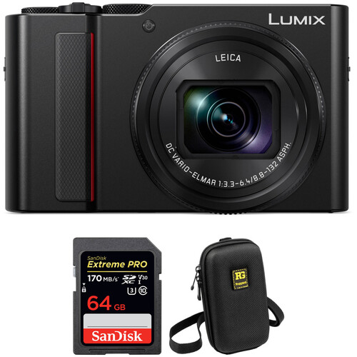 Panasonic Lumix DC-ZS200 Digital Camera with Accessory Kit (Black)