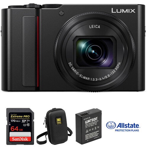 Panasonic Lumix DC-ZS200 Digital Camera Deluxe Kit (Black)