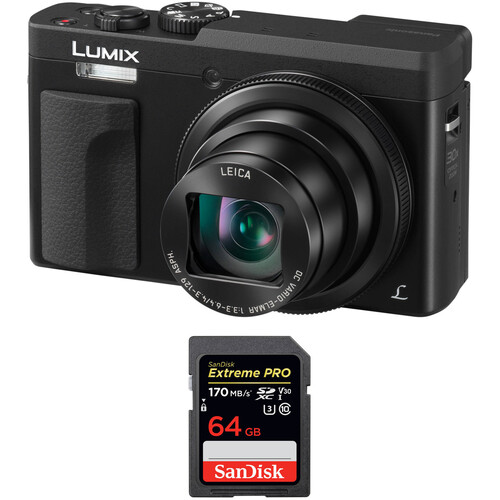 Panasonic Lumix DC-ZS70 Digital Camera Basic Kit (Black)