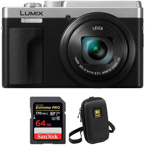 Panasonic Lumix DCZS80 Digital Camera with Accessories Kit (Silver)