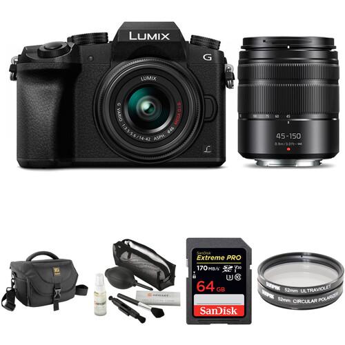 Panasonic Lumix DMC-G7 Mirrorless Digital Camera with 14-42mm and 45-150mm Lenses and Accessories Kit (Black)