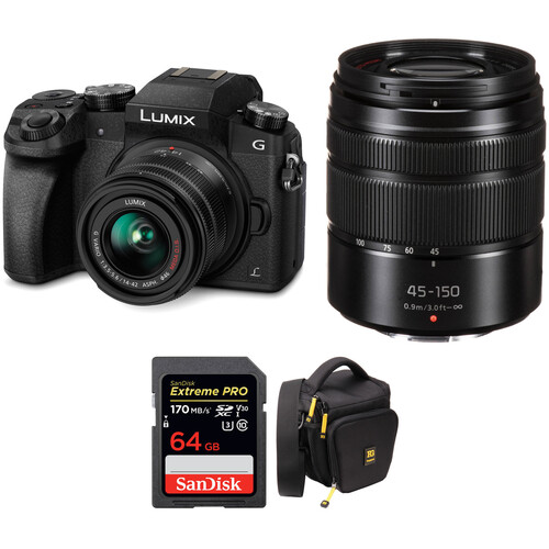 Panasonic Lumix DMC-G7 Mirrorless Micro Four Thirds Digital Camera with 14-42mm and 45-150mm Lenses Kit (Black)
