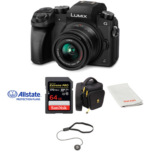Panasonic Lumix DMC-G7 Mirrorless Micro Four Thirds Digital Camera with 14-42mm Lens Deluxe Kit (Black)